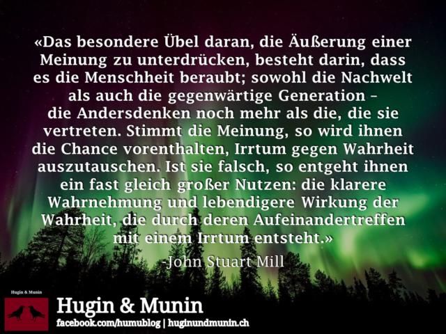 John Stuart Mill über das Unterdrücken von Meinungen